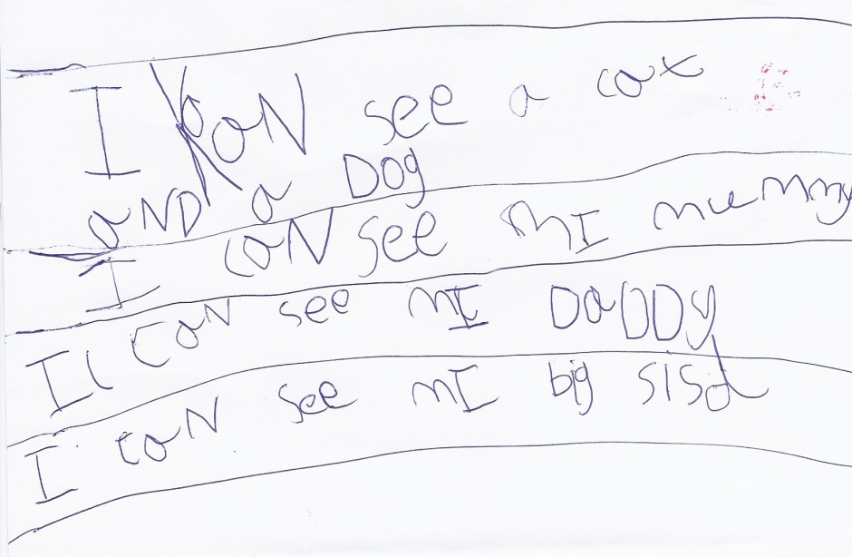 Sophie's practise writing